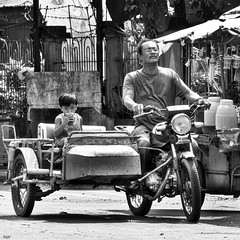 Steady.... (Beegee49) Tags: tricycle boy drink silay city philippines blackandwhite