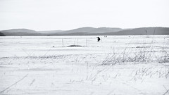 Fisherman (@Tuomo) Tags: finland päijänne lake ice fisherman fishing snow nikon df nikkor 300mm pf winterfishing landscape seascape nordic bw monochrome blackandwhite