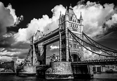 Tower Bridge, London - BW (King Grecko) Tags: 2470f28 5dmk3 5dmkiii architecture bw blue bridge buildingexterior builtstructure city cloud cloudsky england historic iconic london londonengland nopeople outdoors river sky tourism travel traveldestinations uk urbanscene black blackandwhite britishisles building canon canoneos5dmk3 cityscape clouds connection contrast dramatic drawbridge engineering eos europe greatbritain history innerlondon light lightroom nobody photoshop riverthames southwark suspensionbridge thames tower towerbridge towerhamlets water westerneurope