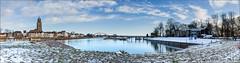 Winter langs de IJssel. (Hans van Bockel) Tags: 1680mm bridge bruggen city d7200 deventer hansvanbockel ijssel landschap lightroom nef nikon photoshop raw rivier spoorbrug stad stadsfront wandelen wilhelminabrug winter sneeuw thenetherlands nld pano panorama worp ijsselhotel nevengeul pontje