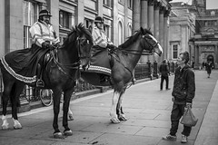 Not Horsing Around (Leanne Boulton) Tags: monochrome people urban street candid portrait streetphotography candidstreetphotography streetlife eyecontact candideyecontact mountedpolice man men male face faces facial expression eyes horse horses clydesdale police officer uniform working authority interaction tone texture detail depth naturallight outdoor light shade city scene human life living humanity society culture law lawenforcement canon5dmarkiii canon 5d 50mm ef2470mmf28liiusm black white blackwhite bw mono blackandwhite glasgow scotland uk