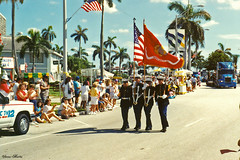 Start of Independence Day Parade, 1991 (StevenM_61) Tags: holiday unitedstates florida military westpalmbeach parade 1991 independenceday marinecorps 1990s colorguard