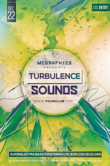 TURBULENCE SOUNDS (movingclays) Tags: party house love halloween colors festival rock dance flyer model artist dj peace graphic nightclub indie speaker electro techno beast hiphop guest breakdance psd drumbass template dubstep