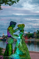 Sharing a Dance in the World Showcase (NOLA_2T) Tags: sunset sky flower green photoshop 35mm garden epcot nikon topiary afternoon prince ps disney greenery 28 cinderella charming f18 wdw 18 35 lr lightroom worldshowcase flowerandgarden d90