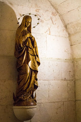 Statue of Mary in the Lower Level of St. Anne's Church (marylea) Tags: blessedvirginmary bvm may13 2015 stanneschurch jerusalem israel oldcity birthplaceofmary siteofmarysbirth stonework ancient religious holy site historical explore catholic christian virginmary motherofgod ישראל