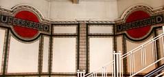 Mosaic Roundells, Maida Vale UndergrounD Station (shadow_in_the_water) Tags: london mosaic artnouveau 1915 maidavale roundel ballustrade undergroundsign w9 gradeiilisted maidavaleundergroundstation 288elginavenue mosaicroundell
