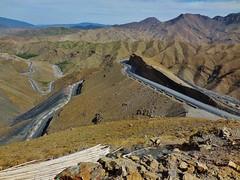 the Tizi n'Tichka pass (SM Tham) Tags: africa morocco atlasmountains tizintichkapass nationalhighway road pass mountains rocks terrain landscape slope cars outdoors