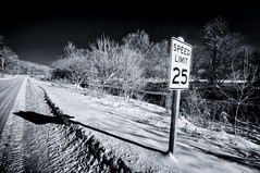 New sign (citrusjig) Tags: pentax sigma1020mmf456 infrared infraredconvertedbody kx bw090redfilter blackandwhite manualfocus trees river road toned sign