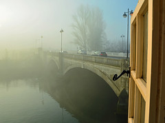 Foggy morning on the Nene (Travis Pictures) Tags: peterborough rivernene city customhouse fog foggy cold winter england uk britain citycentre citycontest cityscape cambridgeshire river water waterway townbridge nikon d5200 photoshop window seacadets