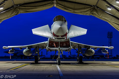 RAF Coningsby Nightshoot (SHGP) Tags: typhoon t3 raf coningsby eurofighter euro fighter plane aircraft jest fast royal air force shelter as night outdoor light blue airplane vehicle sigma 18250mm canon eos 700d shgp steven harrisongreen jet tornado gr4 panavia fgr4