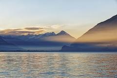 Brienzersee, Switzerland (Geolilli) Tags: lakescapes lake mountains switzerland beautiful fog sunset interlaken