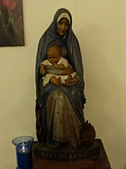 Virgin and Child (Wider World) Tags: england hampshire cosham stphilips parish church comper virginmary baby jesus blue lamp rabbit sculpture madonna child christmaseve churchofengland cofe