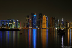 in the silence (NadzNidzPhotography) Tags: nadznidzphotography longexposure seascapes skyline reflection dhow olddhow tower building architecture architectural nightshot nightview city night water waterfront bright cityscape