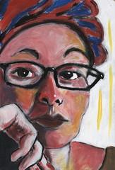 Kimie (Gila Mosaics n'stuff) Tags: portrait art artist acrylic onwood glasses hand portraitparty jkpp