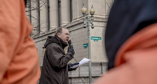 Art Laffin Leads an Anti-Torture Demonstration in Front of the White House