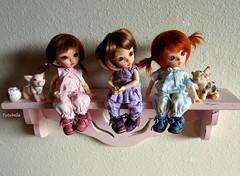 Happy Dolly Shelf Sunday! (TutuBella) Tags: pukifee fairyland dolls tinybjd daisydayes piggys pig owl owlet krataiscrafts dollyshelfsunday emmi tilly sprout sweet sisters