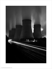 Power and Motion II / Ratcliffe Power Station, Nottinghamshire (Andrew James Howe) Tags: blackandwhite buildings andrewhowe abstract clouds dusk drama england engineering fineart industrial industriallandscape uk light landscape longexposure mono nikon power powerstation railways ratcliffeonsourpowerstation ratcliffepowerstation trains