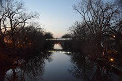 A view from the bridge (marensr) Tags: water chicago river january winter tree silhouette orange blue dusk sunset nature sky train cta el bridge lights reflection