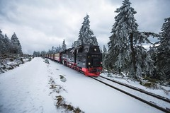 Choo Choo. (Bokehm0n) Tags: landscape nature vsco explore flickr earth travel folk 500px brocken harz snow winter cold tree wood ice track frozen frost transportation system vehicle outdoors weather mountain scenic daylight evergreen