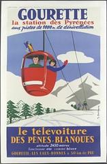 Gourette : la station des Pyrnes aux pistes de 1000m de dnivellation. Le tlvoiture des Pnes-Blanques ... (pireneas) Tags: ski sport montagne hiver neige pyrnes gourette tlphrique lithographie affichepublicitaire