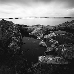 Rock Pools at Morar (Mark Rowell) Tags: bw 120 6x6 film mediumformat scotland fuji hasselblad rum swc 903 morar eigg aroc weldingglass