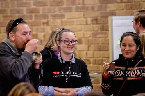 Dela, Mariel and Danielle talking over soup TEDxYouth@Bunbury