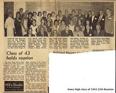 1968-08-10 AHS 1943 Ames Tribune article w names 25th class reunion held Saturday eve at Sheldon-Munn Hotel Ames Iowa (ameshighschool) Tags: 1943 1943ahs 1968 25threunion ahs ahs1943 ahsaa alumni ameshighschool ameshighschoolalumniassociation amesiowa ameshighclassof1943 classphoto classreunion classmate classmates group iowa reunion scan newspaper article
