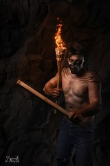 Post-Apocalyptic Shoot by SpirosK photography: Mihail, the brawler (SpirosK photography) Tags: postapocalyptic mihailiancu portrait male brawler muscles madmaxinspired torch exploration fantasy mask