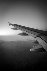 A320 (mikejmartelli) Tags: airplane aircraft airbus a320 plane sky arial wing wingtip winglet aviation flaps blackwhite blackandwhite arialphotography contrast