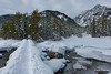 Taggart Creek Bridge (kevin-palmer) Tags: grandtetonnationalpark nationalpark wyoming winter december cold snow snowy nikond750 tetonmountains tamron2470mmf28 clouds bridge taggartcreek taggartlake boulders stream water frozen