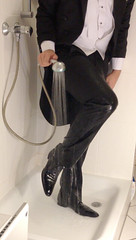 white-tie-shower-1_10300153924_o (shinydressshoes) Tags: tux tuxedo tails suit wet gunge muddy tailcoat shiny shoes patent leather shinyshoes dressshoes groom wedding whitetie shower formal frack lackschuhe lackschuh