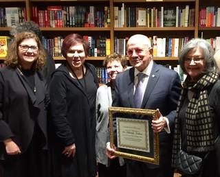 ARTtuesdays' Program Committee: Ilana Vardy, Lilia Garcia, Carol Damian and Liana Perez honoring Dr. Padron with the 2017 Helen Kohen Legends Award