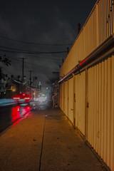 Rain on Gower (ADMurr) Tags: la hollywood rain wet pavement garage doors taillight red yellow brown sky leica m 240 vanishing point