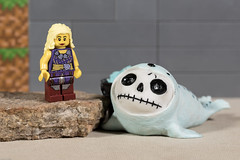 At the beach (MuTant 99) Tags: home toys lego miniature girl furrybones resin statue babyseal pentaxk3