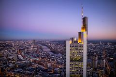 The Tower (Chris Buhr) Tags: tower hochhaus skyscraper wolkenkratzer commerzbank frankfurt aussicht view landschaft landscape city urban blaue stunde leica chris buhr
