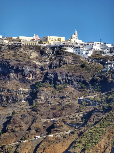 Two routes to Fira, Santorini