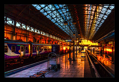 Sunblast (Kev Walker ¦ 8 Million Views..Thank You) Tags: architecture canon1100d canon1855mm citycentre england hdr kevinwalker lancashire manchester northwest panorama panoramic photoborder piccadillystation railwaylines railwaystation sky skyline trains transport sunrise glow