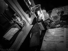 Week 4 :: Jan 22 - 28 :: Story, Mirror :: A Bottle of Red (Danarah) Tags: dogwood52 dogwoodweek4 mirror dinner blackandwhite reflection gulfportfl restaurant wine dogwood2017 datenight romance