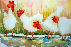 Four white chickens, by Ademar - DSC093341 (Dona Mincia) Tags: white art chicken animal watercolor painting paper four galinha peace arte farm paz study quatro pintura fazenda galo aquarela galinheiro