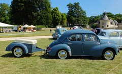 RENAULT 4CV et remorque (Profil) (xavnco2) Tags: show blue france classic 1955 car french automobile meeting renault trailer bleue ancienne maineetloire raduno 2015 4cv remorque paysdeloire rassemblement maz carouleamaze