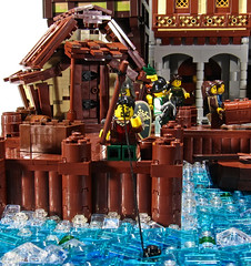 Lord Tripp's Retirement (aardwolf_83) Tags: street door city musician music lighthouse house building tower water statue wall port harbor boat fishing dock alley rocks ship lego cottage shack tripp build causeway oro moc isil abner lenfald yursuff