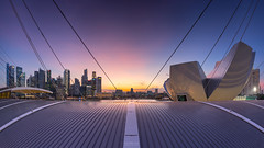 Measure of Spread (bing dun (nitewalk)) Tags: sunset panorama marina bay singapore cityscape esplanade cbd sands mbs artsciencemuseum