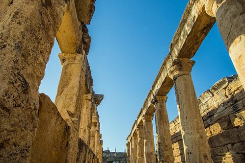 columns in frontinus street, in hierapolis - pamukkale, turkey 3