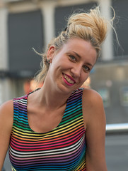 Colour stripes! :) (infinitum Photography & Video Production) Tags: blue portrait woman color colour rayas girl smile face fashion rose donna mujer eyes nikon colorful chica exterior shot outdoor head retrato top stripes femme cara moda 85mm rosa headshot piercing yeux occhi blond ojos blonde rubia d750 sorriso sonrisa lipstick colourful shoulders mode fille sourire ritratto camiseta bun multicolor visage ragazza faccia azules bleus rayado bionda infinitum azzuri multicolore chignon pintalabios moo paules rougelvres hombros infinitumstudio