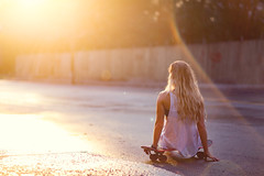Lord of dogtown (pfala) Tags: light sunset summer portrait people woman holiday cute beautiful beauty night pose hair nude relax pretty legs outdoor femme posing skateboard belle mermaid t fille outdoorportrait summergirl pfala paulfalardeau
