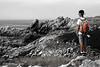 Ouessant island, Rocks (filippi antonio) Tags: ouessant finistere bretagne bretagna brittany francia france scogli scogliera rocce rocks cliff falaise roches ocean oceano mare sea mer merdiroise atlantic atlantico atlantique paesaggio paesaggiomarino landscape waterscape seascape paysage panorama biancoenero blackandwhite coloreselettivo selectivecolor arancione orange uomo man ragazzo boy veduta view vision son figlio