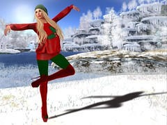 Winter Snow Dance (lauragenia.viper) Tags: blossom catwa cosmopolitan frozen insol lefashionwhore lumipro maitreya mayfly secondlife secondlifefashion stuffstylesalesroom truth verocity we3roleplay zoz red green snow avatar virtualworld virtualgirl cap blond blonde boots sweater rights outside person dance nails eyes dimples izzies musa