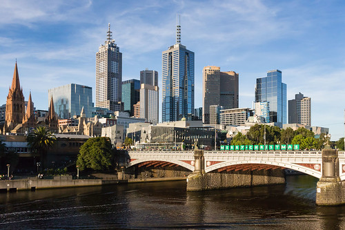 Melbourne skyline and Prices Bridge from Southbank