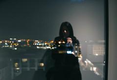 City lights (Electra_star) Tags: bokeh night city window reflection grain nightphotography citylights hotel self cityatnight glasgow vsco vscofilm