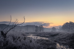 Winter (k.tusnio) Tags: winter frost snow ice hdr nikon sunrise morning wschod slonca sun sky landscape nature d5100 35mm 18 poland rogalin rogalinek warta oaks trees lake water frozen